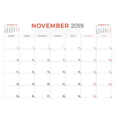 November 2019 calendar planner stationery design vector