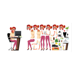 office worker woman animation creation vector image