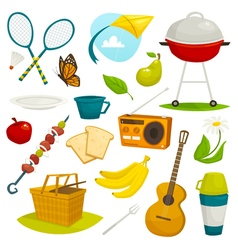 Outdoor picnic objects set summer holiday activity vector