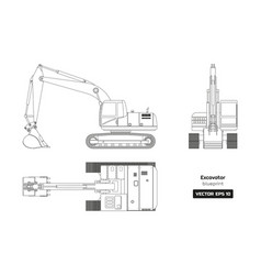 outline drawing of excavator top side and front vector image