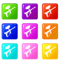 paintball marker set 9 vector image