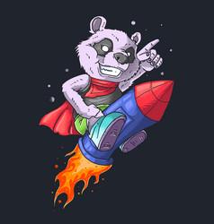 Panda on rocket vector