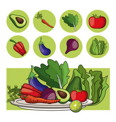 plate vegetables healthy food organic vector image
