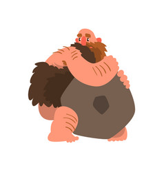Primitive muscular caveman with stone prehistoric vector