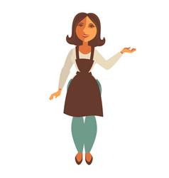 Saleswoman in trade apron isolated flat vector