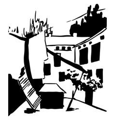 scene street hand drawn ink line vector image