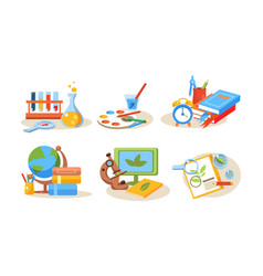 school supplies set educational accessories back vector image