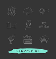 set of electronic icons line style symbols with vector image