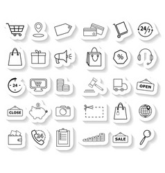 set shopping sticker icons vector image