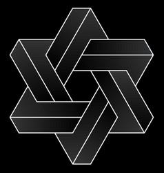 Star david impossible hexagram shape vector