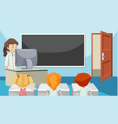 Students in class room vector