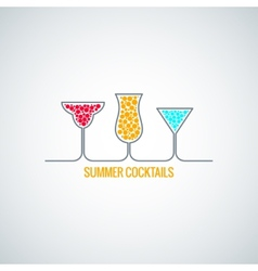 Summer cocktails menu background vector