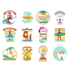 Surfing school set surfboard wakeboard vector