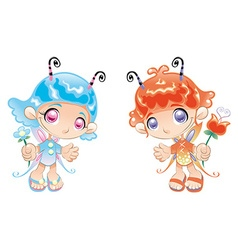 Two little fairies vector