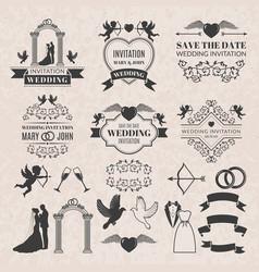 vintage labels set for wedding invitation vector image vector image