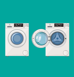 Washing machine with open and closed door vector