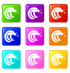 Wave of sea tide set 9 vector