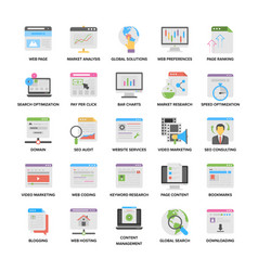 web and seo flat icons vector image