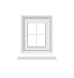 white window frame on white background vector image
