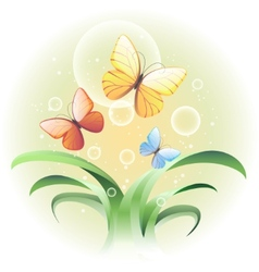 with a sprouts and butterflies vector image