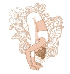 Women silhouette uttanasana forward fold yoga vector