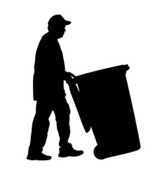 Worker with recycle bin collects leaves silhouette vector
