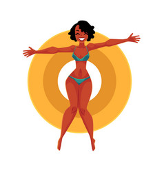 Young black girl woman in bikini floating on vector