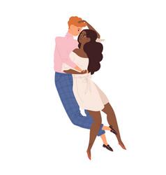 Young modern heterosexual man and woman hugging vector