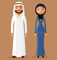cartoon of a young arab lady and man vector image vector image