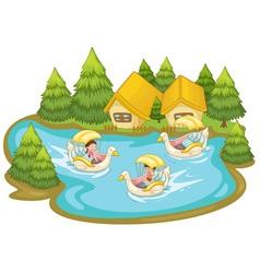 Fun in the lake vector image