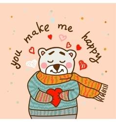 happy teddy card in vector image vector image