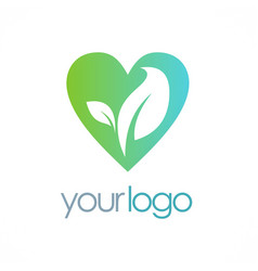 love organic leaf logo vector image vector image