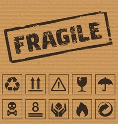 Packaging Symbols on Cardboard vector image
