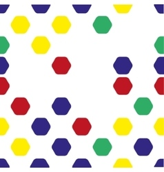 Seamless pattern of colored hexagons on a white vector image