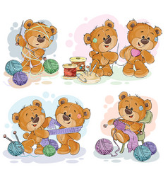 Set of clip art of teddy vector