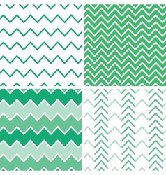 Set of four emerald green chevron patterns and vector image
