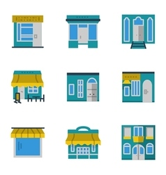 Storefronts blue icons set vector image vector image