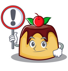 With sign pudding character cartoon style vector