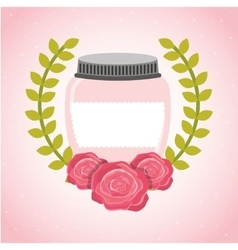 beautiful mason jar with floral decoration vector image