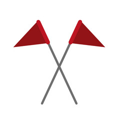 crossed triangle flags icon image vector image