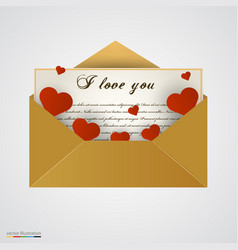 envelop with letter and hearts vector image