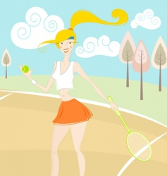 girl playing tennis vector image vector image