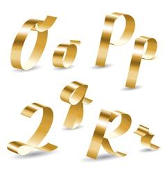 Ribbon alphabet O P Q R vector image