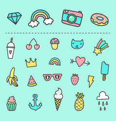 set of cute cartoon stickers vector image