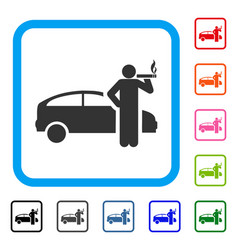 smoking taxi driver framed icon vector image