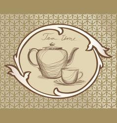 tea cup pot kettle retro card tea time vintage vector image vector image