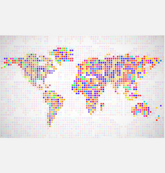 abstract world map from colorful pixels vector image vector image