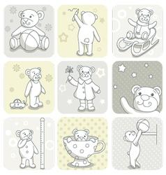 Baby card set vector image