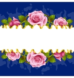frame whith pink roses vector image vector image