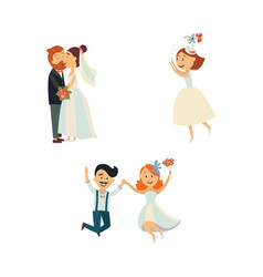 funny wedding couple kissing and jumping vector image